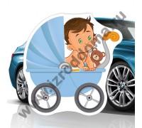 Малыш в коляске наклейка магнитная