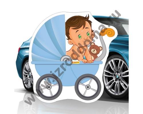 Малыш в коляске (30х30см) магнит