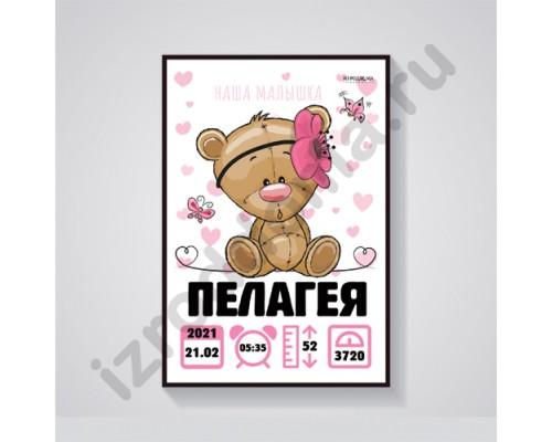 """Красочная именная метрика на рождение дочки """"Лапуля"""""""