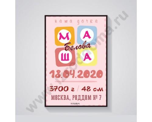 Красочная именная метрика на рождение дочки 11 (электронная версия)