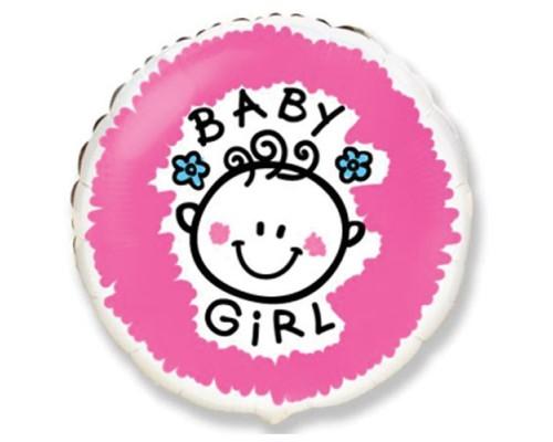 """Фольгированный шарик с гелием """"Baby Girl"""" 46 см"""