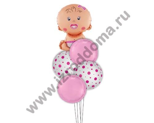 Букет из шариков с гелием Малышка в розовых и в горошек кругах