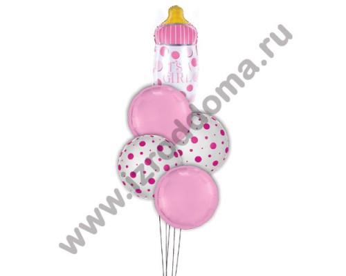 Букет из шариков с гелием Бутылочка в розовых и в горошек кругах (девочка)