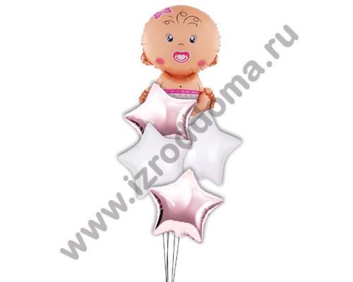 Букет из шариков с гелием Малышка в звёздах