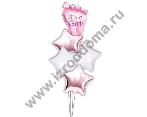 Букет из шариков с гелием Ножка в звёздах (девочка)