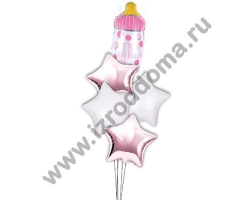 Букет из шариков с гелием Бутылочка в звёздах (девочка)