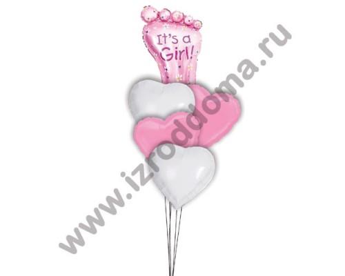 Букет из шариков с гелием Ножка в сердечках (девочка)