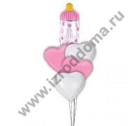 букет шаров с гелием в роддом сердца и бутылочка