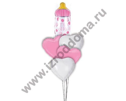 Букет из шариков с гелием Бутылочка в сердечках (девочка)
