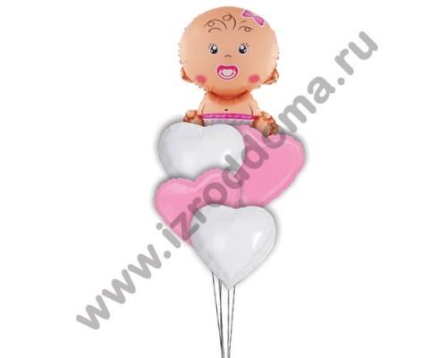 Букет из шариков с гелием Малышка в сердечках