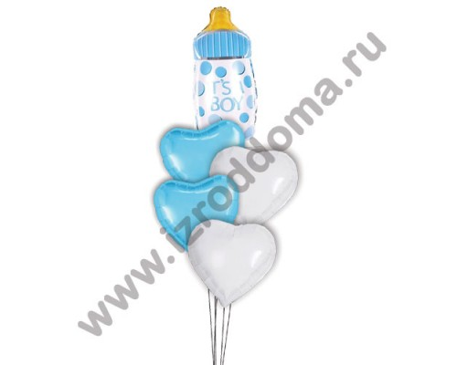 Букет из шариков с гелием Бутылочка в сердечках (мальчик)