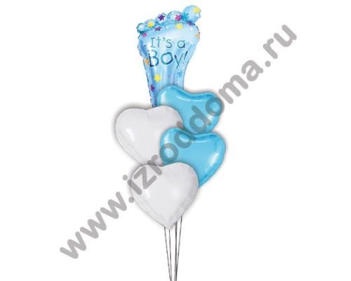 Букет из шариков с гелием Ножка в сердечках (мальчик)