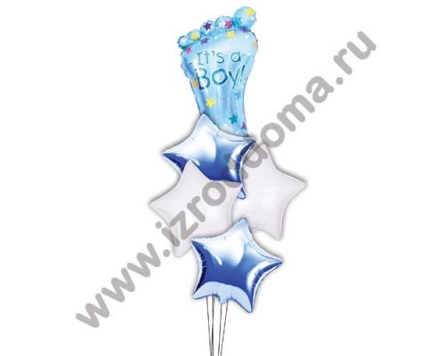 Букет из шариков с гелием Ножка в звёздах (мальчик)