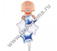 Букет из шариков с гелием Малыш в звёздах