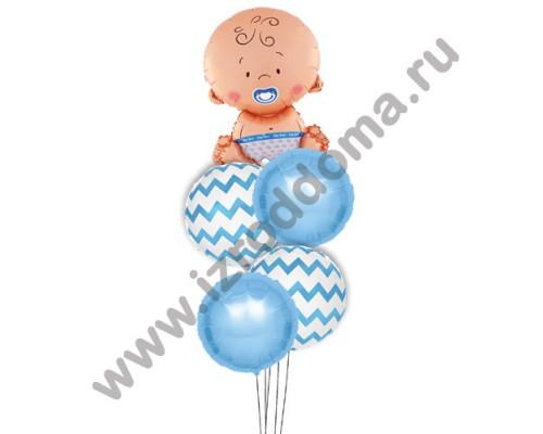Букет из шариков с гелием Малыш и круглые шарики