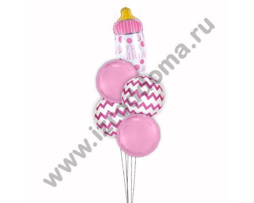 Букет из шариков с гелием Бутылочка на белых и розовых шарах