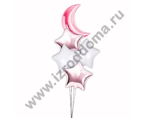 Букет из шариков с гелием Полумесяц в розовых и белых звездах