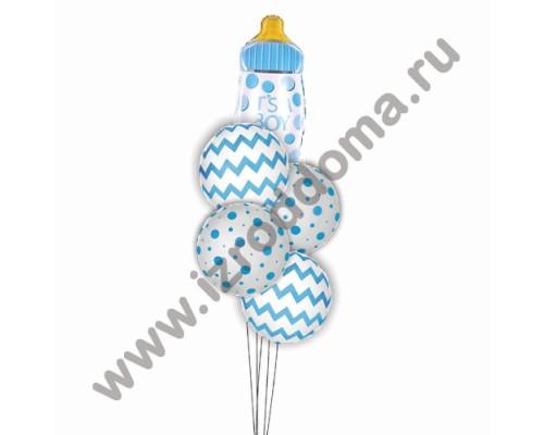 Букет из шариков с гелием Бутылочка и круглые шарики (мальчик)