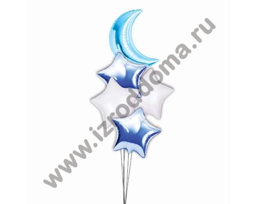 Букет из шариков с гелием Полумесяц в синих и белых звёздах