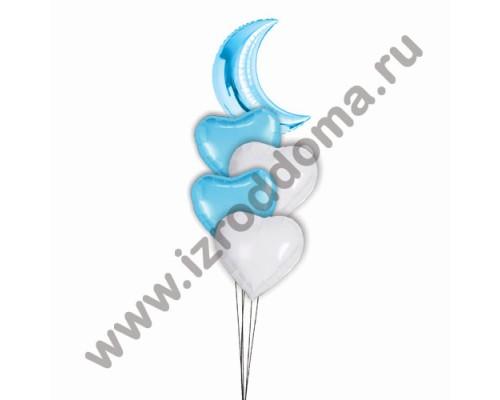 Букет из шаров с гелием Полумесяц в сердцах (мальчик)