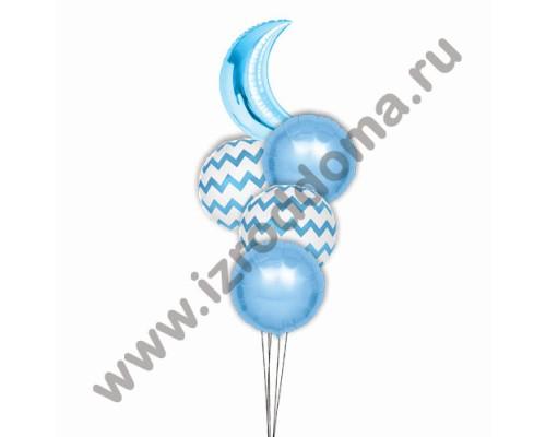 Букет из шариков с гелием Полумесяц и круглые шарики