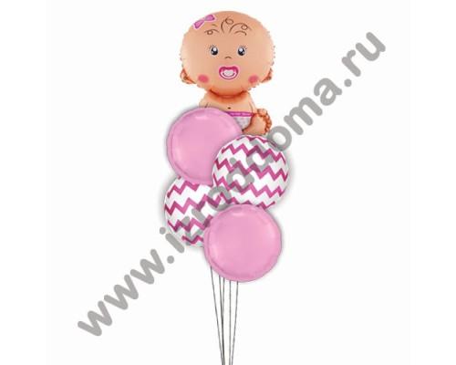 Букет из шариков с гелием Малышка на розовых и белых шарах