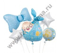 Букет из шариков с гелием Новорожденный малыш бабочка и звезды