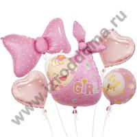 Букет из шариков с гелием Новорожденная малышка бабочка и сердечки